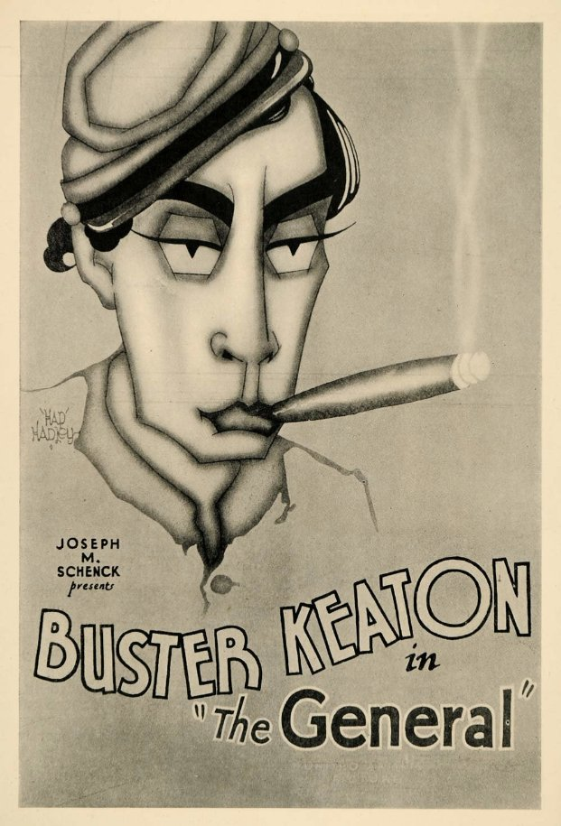 7 Art Cinema | Le Mecano de la General - The General - 1926 - Clyde Bruckman, Buster Keaton | Buster Keaton : Johnnie Gray, Marion Mack : Annabelle Lee, Glen Cavender : capitaine Anderson, Jim Farley : général Thatcher, Frederick Vroom : un général sudiste, Charles Smith : le père d'Annabelle, Frank Barnes : le frère d'Annabelle, Frank Agney : le sergent recruteur, Joe Keaton  : un général nordiste, Mike Donlin : un général nordiste, Tom Nawm : un général nordiste | Pays d'origine : Etats-Unis, Format : Noir et blanc - 1,33:1 - Film muet, Genre : comédie burlesque, Réalisation : Buster Keaton, Clyde Bruckman, Scénario : Al Boasberg, Charles Smith, d'après B. Keaton, C. Bruckman, William Pittenger, Photographie : Dev Jennings, Bert Haines, Décors : Fred Gabourie, Montage : J. Sherman Kell, Harry Barnes, Producteur : Joseph M. Schenck, Production : United Artists, Société de distribution : United Artists | Affiche du Film